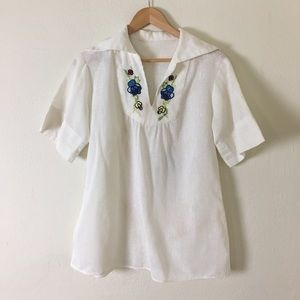 Tops - Vintage 1970s Embroidered Flower Hippie Blouse